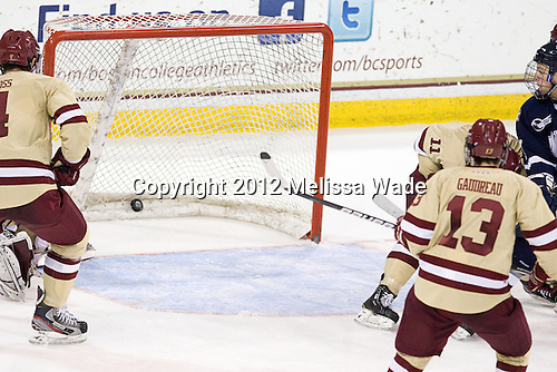 Scott Pavelski (UNH - 11) scored to take a 3-2 lead. - The Boston College Eagles defeated the visiting University of New Hampshire Wildcats 4-3 on Friday, January 27, 2012, in the first game of a back-to-back home and home at Kelley Rink/Conte Forum in Chestnut Hill, Massachusetts.