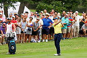 28th May 2017, Fort Worth, Texas, USA; Jordan Spieth hits his approach to #3 during the final round of the PGA Dean & Deluca Invitational at Colonial Country Club in Fort Worth, TX.