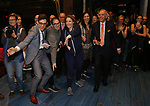 Justin Peck, Jessie Mueller, Roy Furman, Lindsay Mendez and Renee Fleming during the Actors' Equity Broadway Opening Night Gypsy Robe Ceremony honoring Jess LeProtto for 'Carousel' at the Imperial Theatre on April 12, 2018 in New York City.