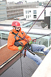 David Scallan who abseiled off the roof of the D Hotel to raise money for Drogheda Animal Rescue...Picture Jenny Matthews/Newsfile.ie