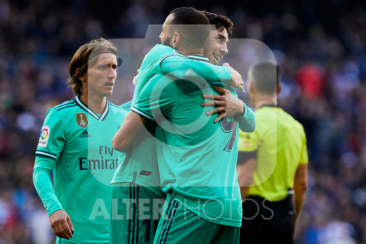 Fede Valverde and Karim Benzema of Real Madrid celebrate goal during La Liga match between Real Madrid and RCD Espanyol at Santiago Bernabeu Stadium in Madrid, Spain. December 07, 2019. (ALTERPHOTOS/A. Perez Meca)