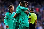 Fede Valverde and Karim Benzema of Real Madrid celebrate goal during La Liga match between Real Madrid and RCD Espanyol at Santiago Bernabeu Stadium in Madrid, Spain. December 07, 2019. (ALTERPHOTOS/A. Perez Meca)