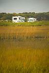 Hammonasset State Beach Park. Trailer in campground with wetlands.