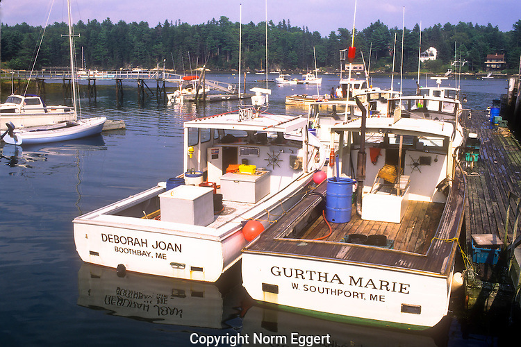 Fishing boats docked in Southport, Maine