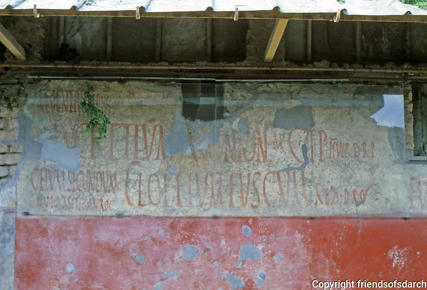 Italy: Pompeii--Street of Abundance. Evidently an election poster--2 men seeking office--D.R.P. AED (Ile)