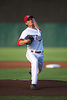Auburn Doubledays starting pitcher Tyler Watson (22) during a game against the Vermont Lake Monsters on July 12, 2016 at Falcon Park in Auburn, New York.  Auburn defeated Vermont 3-1.  (Mike Janes/Four Seam Images)