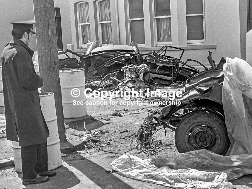 The scene of devastation in Causeway Road, Newcastle, Co Down, N Ireland, UK, after a Provisional IRA bomb exploded en route to a target. The bombers, an engaged couple, died instantaneously in the blast as their car was ripped apart. The incident happened just before midnight on 21st July 1973 in a quiet suburb of one of N Ireland's most popular seaside resorts. The couple, both 21 years, who died were Alphonsus Cunningham, from nearby Annalong, and Pauline Kane, from Castlewellan. 197307210513c<br />