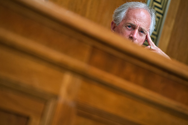 "UNITED STATES - JUNE 17: Sen. Bob Corker, R-Tenn., attends a Senate Budget Committee hearing in Dirksen Building titled ""Congressional Budget Office's Long Term Fiscal Outlook for Nation,"" June 17, 2015. CBO Director Keith Hall testified. (Photo By Tom Williams/CQ Roll Call)"