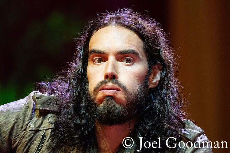 © Joel Goodman - 07973 332324 . 16/06/2012 . Manchester , UK . RUSSELL BRAND at the Stand Up and Be the Change youth event , hosted by the Dalai Lama during a 10 day UK tour , at the Manchester Arena . Photo credit : Joel Goodman