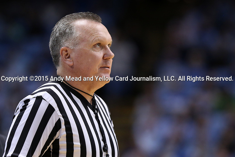 02 February 2015: Referee Jamie Luckie. The University of North Carolina Tar Heels played the University of Virginia Cavaliers in an NCAA Division I Men's basketball game at the Dean E. Smith Center in Chapel Hill, North Carolina. Virginia won the game 75-64.