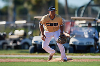 Jake Skipworth during the WWBA World Championship at the Roger Dean Complex on October 20, 2018 in Jupiter, Florida.  Jake Skipworth is a first baseman from Mira Loma, California who attends Eleanor Roosevelt High School and is committed to California.  (Mike Janes/Four Seam Images)