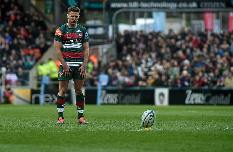 Leicester Tigers' Joe Ford kicks a conversion<br /> <br /> Photographer Hannah Fountain/CameraSport<br /> <br /> Gallagher Premiership - Leicester Tigers v Wasps - Saturday 2nd March 2019 - Welford Road - Leicester<br /> <br /> World Copyright © 2019 CameraSport. All rights reserved. 43 Linden Ave. Countesthorpe. Leicester. England. LE8 5PG - Tel: +44 (0) 116 277 4147 - admin@camerasport.com - www.camerasport.com