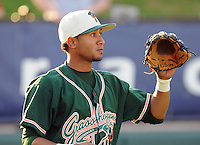 April 17, 2008: Infielder Emilo Ontiveros (11) of the Greensboro Grasshoppers, Class A affiliate of the Florida Marlins, in a game against the Greenville Drive at Fluor Field at the West End in Greenville, S.C. Photo by:  Tom Priddy/Four Seam Images