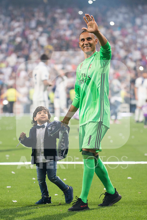 Real Madrid Keylor Navas with his son during the celebration of the 13th UEFA Championship at Santiago Bernabeu Stadium in Madrid, June 04, 2017. Spain.<br /> (ALTERPHOTOS/BorjaB.Hojas)