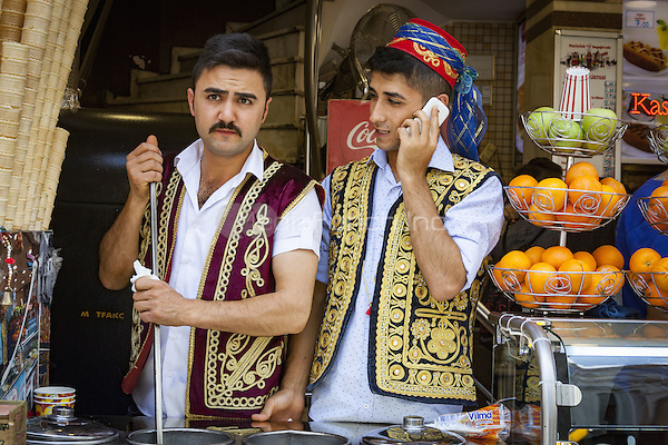 Two shop assistants wearing traditional costume, Istanbul, Turkey  May 2015.<br /> CAP/MEL<br /> &copy;MEL/Capital Pictures /MediaPunch ***NORTH AND SOUTH AMERICA ONLY***