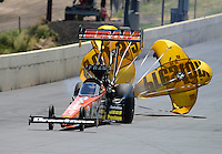 Jul, 22, 2012; Morrison, CO, USA: NHRA top fuel dragster driver Spencer Massey during the Mile High Nationals at Bandimere Speedway. Mandatory Credit: Mark J. Rebilas-