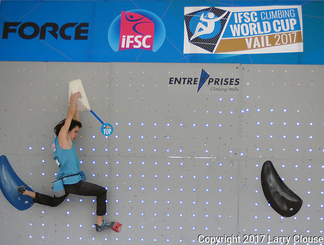 June 9, 2017 - Vail, Colorado, U.S. - USA's, Sean Bailey #55, tops his first climbing problem in the IFSC Climbing World Cup during the GoPro Mountain Games, Vail, Colorado.  Adventure athletes from around the world meet in Vail, Colorado, June 8-11, for America's largest celebration of mountain sports, music, and lifestyle.