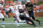Amari Rodgers (3) of the Clemson Tigers is tackled by Wake Forest Demon Deacons defensive back Luke Masterson (12) during first half action at BB&T Field on October 6, 2018 in Winston-Salem, North Carolina. (Brian Westerholt/Sports On Film)