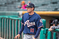 Tom Bezla (11) of the Reno Aces before the game against the Salt Lake Bees in Pacific Coast League action at Smith's Ballpark on May 10, 2015 in Salt Lake City, Utah.  Salt Lake defeated Reno 9-2 in Game One of the double-header. (Stephen Smith/Four Seam Images)