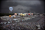 Start of the 27th annual Gordon-Bennett Cup in ballooning. (The translucent balloon later crashed near the Czechoslavkian border killing both fliers.) <br /> Paris, France, June 25, 1983
