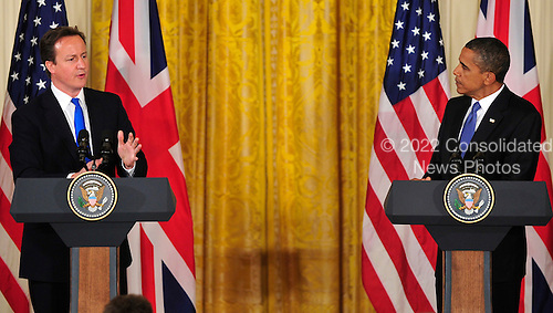United States President Barack Obama and Prime Minister David Cameron of the United Kingdom conduct a joint press conference in the East Room of the White House in Washington, D.C. on Tuesday, July 20, 2010..Credit: Ron Sachs / Pool via CNP