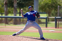 Los Angeles Dodgers pitcher Andre Scrubb (71) delivers a pitch to the plate during an Instructional League game against the Chicago White Sox on September 30, 2017 at Camelback Ranch in Glendale, Arizona. (Zachary Lucy/Four Seam Images)