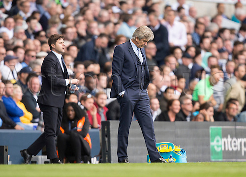 26.09.2015. London, England. Barclays Premier League. Tottenham Hotspur versus Manchester City. A glum looking Manuel Pellegrini, the Manchester City manager as he sees his side trail 4-1.