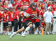 Baltimore, MD - April 28, 2018: Maryland Terrapins Matt Neufeldt (28) in action during game between John Hopkins and Maryland at  Homewood Field in Baltimore, MD.  (Photo by Elliott Brown/Media Images International)