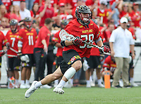 Baltimore, MD - April 28, 2018: Maryland Terrapins Matt Neufeldt (28) in action during game between John Hopkins and Maryland at  Homewood Field in Baltimore, MD.  (Photo by Elliott Brown/Media Images International)