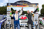 With 2 days racing, a 1,2,3 for the Welsh rally drivers who finished the Volkswagon sponsored Wexford rally last Weekend, based in the Riverbank hotel in Wexford town, it was Abbeyfeals Keith Moriarty who guided the winner Steve Wood to a 41 second victory, seen celebrating at the finish ramp on Sunday evening.