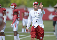 NWA Democrat-Gazette/ANDY SHUPE<br /> Arkansas assistant coach Barry Lunney Jr. directs his players Thursday, Aug. 9, 2018, during practice at the university's practice facility in Fayetteville. Visit nwadg.com/photos to see more photos from practice.