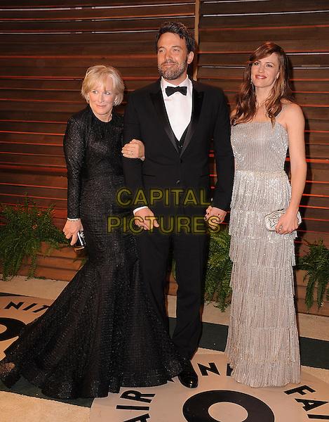WEST HOLLYWOOD, CA - MARCH 2: Glenn Close, Ben Afleck and Jennifer Garner arrive at the 2014 Vanity Fair Oscar Party in West Hollywood, California on March 2, 2014.  <br /> CAP/MPI/MPI213<br /> &copy;MPI213/MediaPunch/Capital Pictures