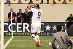 10 AUG 2010: Herculez Gomez (USA) (9) reacts after having a close range shot saved by Victor (BRA) (1). The United States Men's National Team lost to the Brazil Men's National Team 0-2 at New Meadowlands Stadium in East Rutherford, New Jersey in an international friendly soccer match.