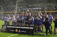 24/05/2002.Sport - Rugby Union - Parker Pen Shield Final..Sale, celebrate victory in the Parker Pen Shield..   [Mandatory Credit, Peter Spurier/ Intersport Images].