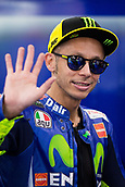 June 9th 2017, Circuit de Catalunya, Barcelona, Spain; Catalunya MotoGP; Friday Practice Session; Valentino Rossi of Movistar Yamaha MotoGP waves to the supporters