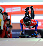 14 December 2007: Desiree Bjerke, racing for Norway, starts her second run of the FIBT World Cup Skeleton Competition at the Olympic Sports Complex on Mount Van Hoevenberg, at Lake Placid, New York, USA. ..Mandatory Photo Credit: Ed Wolfstein Photo