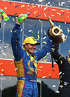 Jun 18, 2017; Bristol, TN, USA; NHRA funny car driver Ron Capps celebrates after winning the Thunder Valley Nationals at Bristol Dragway. Mandatory Credit: Mark J. Rebilas-USA TODAY Sports