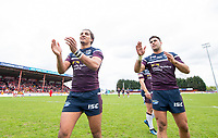 Picture by Allan McKenzie/SWpix.com - 29/04/2018 - Rugby League - Betfred Super League - Hull KR v Leeds Rhinos - KC Lightstream Stadium, Hull, England - Leeds's Ashton Golding and Joel Moon thank the fans for their support after victory over Hull KR.