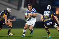 Ross Batty of Bath Rugby takes on the Worcester Warriors defence. Gallagher Premiership match, between Worcester Warriors and Bath Rugby on January 5, 2019 at Sixways Stadium in Worcester, England. Photo by: Patrick Khachfe / Onside Images