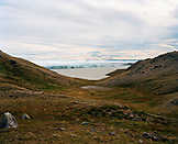 GREENLAND, Kangerlussuaq, Russel's Glacier in the background, landscape with sea against sky