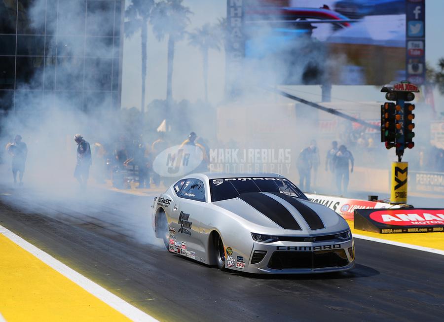 Mar 19, 2017; Gainesville , FL, USA; NHRA pro stock driver Chris McGaha during the Gatornationals at Gainesville Raceway. Mandatory Credit: Mark J. Rebilas-USA TODAY Sports