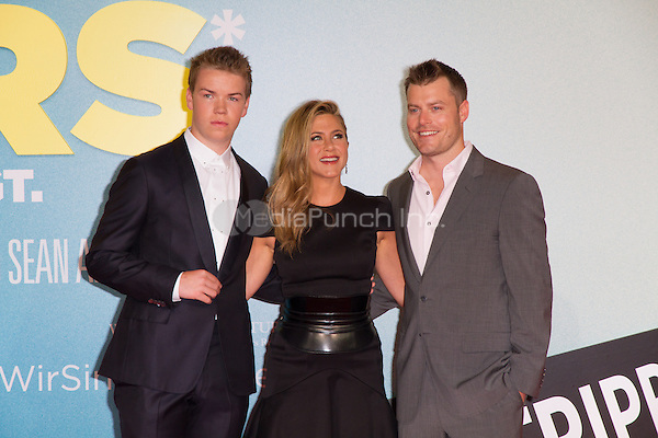 Will Poulter, Jennifer Aniston and Rawson Marshall Thurber attending the We Are The Millers (german title: Wir sind die Millers) premiere held at CineStar, Sony Center, Berlin, Germany, 15.08.2013. <br /> Photo by Christopher Tamcke/insight media /MediaPunch Inc. ***FOR USA ONLY***