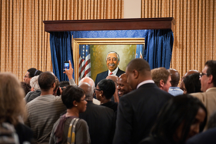 UNITED STATES - SEPTEMBER 22:  Guests view the newly unveiled portrait of Rep. Charlie Rangel, D-N.Y., in the House Ways and Means Committee hearing room in Longworth Building during a ceremony to mark the event.  Rangel was chairman of the Committee from 2007-2010.  (Photo By Tom Williams/Roll Call)