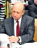 """Lloyd Blankfein, Chairman and Chief Executive Officer, The Goldman Sachs Group, Inc. (GSI), goes over the exhibit book as he prepares to testify before the United States Senate Permanent Subcommittee on Investigations hearing on """"Wall Street and the Financial Crisis: The Role of Investment Banks"""" using Goldman Sachs as a case study on Tuesday, April 27, 2010. .Credit: Ron Sachs / CNP.(RESTRICTION: NO New York or New Jersey Newspapers or newspapers within a 75 mile radius of New York City)"""