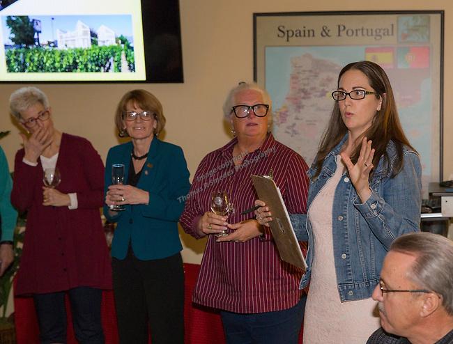 "Reno Magazine Editor Laura Longero-Homan, right, speaks during the Reno Magazine ""Bubbles Tasting"" event at Total Wine in Reno on Friday night, February 9, 2018."