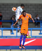 Trent Alexander Arnold (Liverpool) of England U19 & Javairo Dilrosun (Manchester City) of Holland battle in the air during the International match between England U19 and Netherlands U19 at New Bucks Head, Telford, England on 1 September 2016. Photo by Andy Rowland.