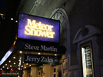 Theatre Marquee for the Steve Martin play 'Meteor Shower' directed by Jerry Zaks and starring Amy Schumer, Keegan-Michael Key, Laura Benanti, and Jeremy Shamos at the Booth Theatre on December 22, 2017 in New York City.