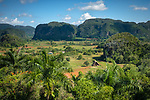 Vinales, Cuba:<br /> Sierra Rosario range, mojotes (limestone formations) and agricultural valley. Unesco World Heritage  Site