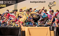 yellow jersey / GC leader Tadej Pogačar (SVN/UAE-Emirates) in the  finishing laps around the Champs-Élysées<br /> <br /> Stage 21 from Mantes-la-Jolie to Paris (122km)<br /> <br /> 107th Tour de France 2020 (2.UWT)<br /> (the 'postponed edition' held in september)<br /> <br /> ©kramon