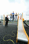Cllr Oliver Tully with Grant Bent and Cormac and Cathal Campbell at the unfinished playground in Clogherhead...Photo NEWSFILE/Jenny Matthews.(Photo credit should read Jenny Matthews/NEWSFILE)....This Picture has been sent you under the condtions enclosed by:.Newsfile Ltd..The Studio,.Millmount Abbey,.Drogheda,.Co Meath..Ireland..Tel: +353(0)41-9871240.Fax: +353(0)41-9871260.GSM: +353(0)86-2500958.email: pictures@newsfile.ie.www.newsfile.ie.FTP: 193.120.102.198.